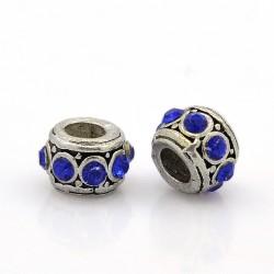 Antik Silber tibetischen Stil European Beads Strass Saphir